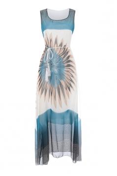 Womens Elegant Chiffon Floral Belt Sleeveless Boho Midi Dress Blue