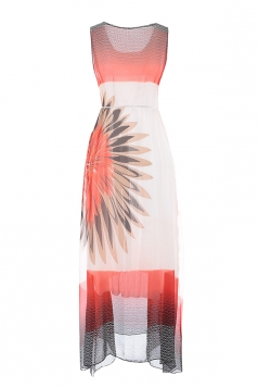 Womens Chiffon Floral Belt Sleeveless Boho Midi Dress Orange Red