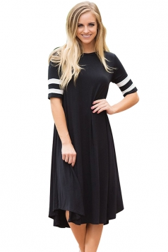 Womens Casual Half Sleeve Striped Ruffle Crew Neck Midi Dress Black