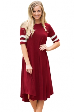 Womens Casual Half Sleeve Striped Ruffle Crew Neck Midi Dress Ruby