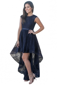 Womens Sexy High Low Lace Backless Sleeveless Evening Dress Navy Blue