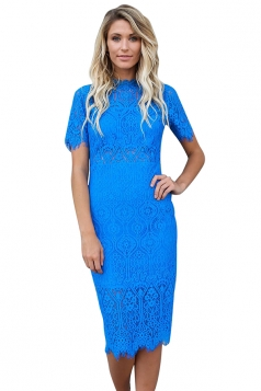 Womens Bodycon Sheer Short Sleeve Scalloped Hem Split Lace Dress Blue