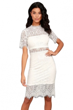 Womens Bodycon Sheer Short Sleeve Scalloped Hem Split Lace Dress White