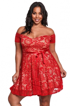 Womens Sexy Plus Size High Waisted Lace Off Shoulder Flare Dress Red