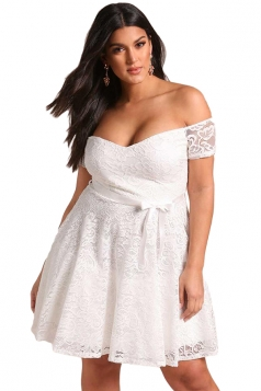 Womens Sexy Plus Size High Waisted Lace Off Shoulder Flare Dress White