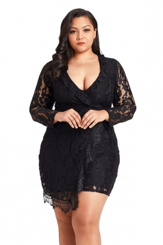 Womens Sexy Lace Long Sleeve Faux Wrap Ruffle Plus Size Dress Black