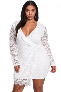 Womens Sexy Lace Long Sleeve Faux Wrap Ruffle Plus Size Dress White