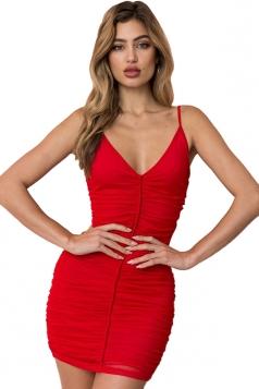 Womens Sexy V Neck Sleeveless Pleated Bodycon Clubwear Slip Dress Red