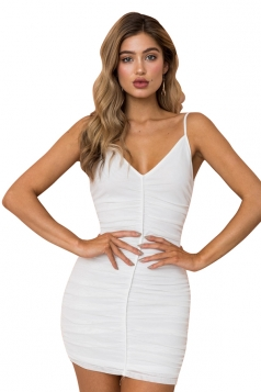 Womens Sexy V Neck Sleeveless Bodycon Mini Clubwear Slip Dress White