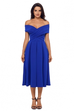Womens Crossed Off Shoulder Fit-And-Flare A Line Evening Dress Blue