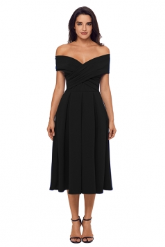 Womens Sexy Off Shoulder Fit-And-Flare A Line Prom Evening Dress Black