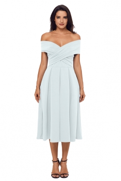 Womens Off Shoulder Bandage Fit-And-Flare Plain Evening Dress White