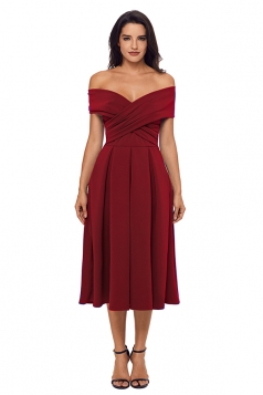 Womens Sexy Crossed Off Shoulder Fit-And-Flare Prom Evening Dress Ruby