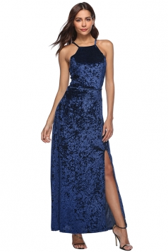 Womens Sexy Halter Lace Up Backless Split Sleeveless Dress Navy Blue
