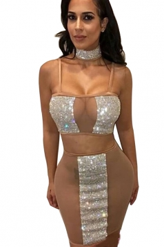 Womens Sexy Sheer Sequin Spaghetti Strap Two Piece Dress Apricot