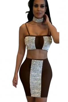 Womens Sexy Sheer Sequin Spaghetti Strap Two Piece Dress Brown