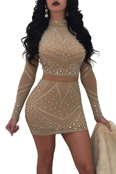 Womens Sexy Rhinestone Sheer Long Sleeve Two Piece Dress Apricot