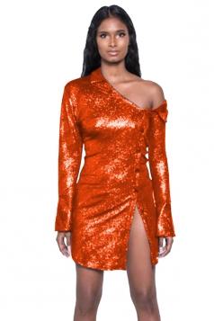 Womens Sexy Glittering One Shoulder Split Metallic Dress Orange