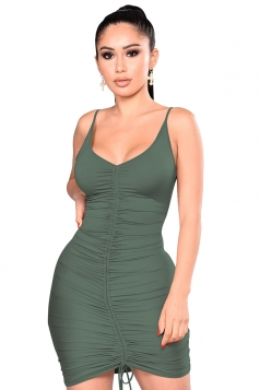 Womens V Neck Pleated Lace Up Plain Bodycon Slip Club Dress Army Green