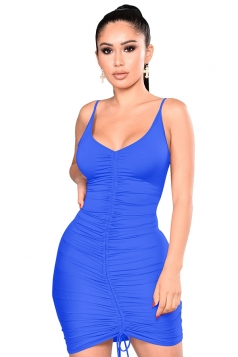 Womens Sexy V Neck Pleated Lace Up Plain Bodycon Slip Club Dress Blue