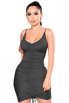 Womens Sexy V Neck Pleated Lace Up Plain Bodycon Slip Club Dress Black