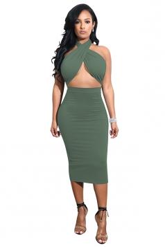Womens Halter Bandage Backless Back Tie Top Midi Club Dress Army Green