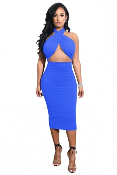 Womens Halter Bandage Backless Top Bodycon Plain Midi Club Dress Blue