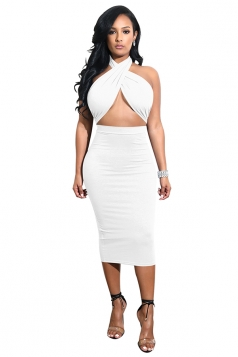Womens Sexy Halter Bandage Backless Top Bodycon Plain Club Dress White