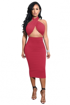 Womens Halter Bandage Backless Top Bodycon Plain Midi Club Dress Ruby