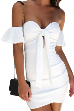 Womens Off Shoulder Backless Bowknot Tie Bodycon Mini Club Dress White