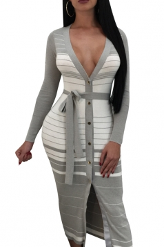 Womens Deep V Long Sleeve Button Design Slit Stripe Midi Dress Gray