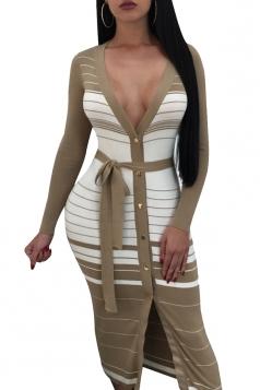 Womens Deep V Long Sleeve Waist Belt Slit Stripe Bodycon Dress Khaki