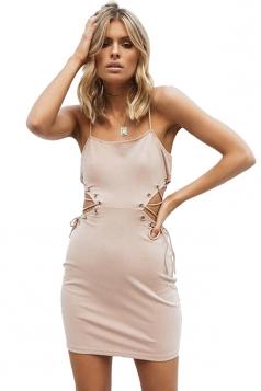 Womens Eyelet Cross Lace Up Cut Out Bodycon Mini Slip Club Dress Khaki