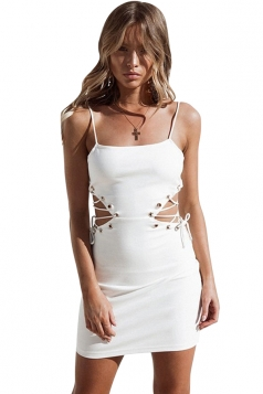 Womens Sexy Eyelet Lace Up Cut Out Bodycon Mini Slip Club Dress White