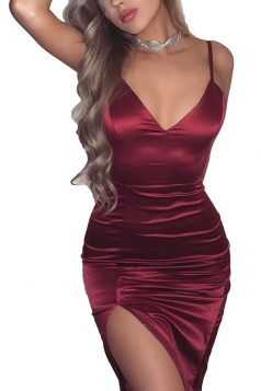 Womens Sexy V Neck Sleeveless Slit Silky Bodycon Slip Club Dress Ruby