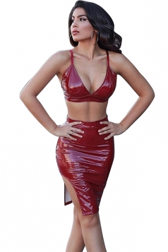 Womens V Neck Backless Crop Top Slit Imitation PU Slip Club Dress Ruby