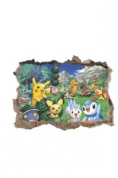 Waterproof For Kids Bedroom Nursery Cartoon Pikachu Printed Wall Decal