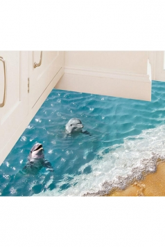 Waterproof Sea Dolphin Print Kitchen Shower Room Floor Wall Decal Blue