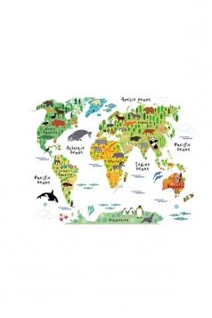 Cute Waterproof Removable Kids Educational Animal World Map Wall Decal