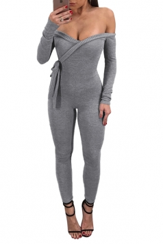 Womens Off Shoulder Long Sleeve Front Tie Fitting Jumpsuit Light Gray