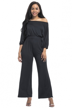Womens Off Shoulder Half Sleeve Waist Tie Wide Legs Jumpsuit Black