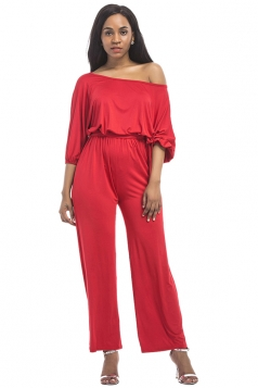Womens Off Shoulder Half Sleeve Back Lace Up Wide Legs Jumpsuit Red