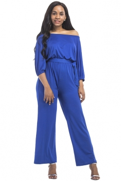 Womens Off Shoulder Wide Legs Plus Size Plain Jumpsuit Sapphire Blue