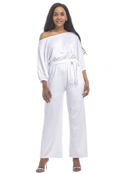 Womens Off Shoulder Half Sleeve Waist Tie Wide Legs Jumpsuit White