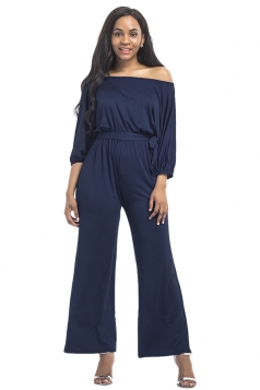 Womens Off Shoulder Half Sleeve Waist Tie Wide Legs Jumpsuit Navy Blue