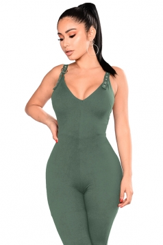 Womens V Neck Sleeveless Backless Fitting Plain Jumpsuit Army Green