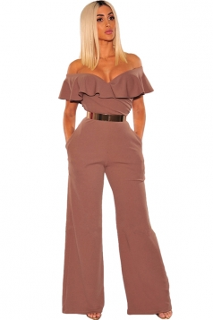 Womens Sexy V Neck Ruffle Off Shoulder Wide Legs Plain Jumpsuit Coffee