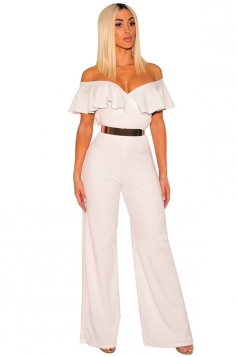 Womens Sexy V Neck Ruffle Off Shoulder Wide Legs Plain Jumpsuit White