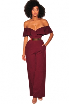 Womens Sexy V Neck Ruffle Off Shoulder Wide Legs Plain Jumpsuit Ruby