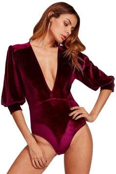 Womens Sexy Deep V Neck Half Puff Sleeve Plain Cotton Bodysuit Ruby